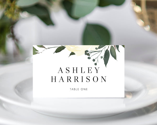 INSTANT DOWNLOAD Wedding Place Cards, Seating Card, Wedding Table Cards, Printable, Instant Download, White Floral Placecards, Templett, W19