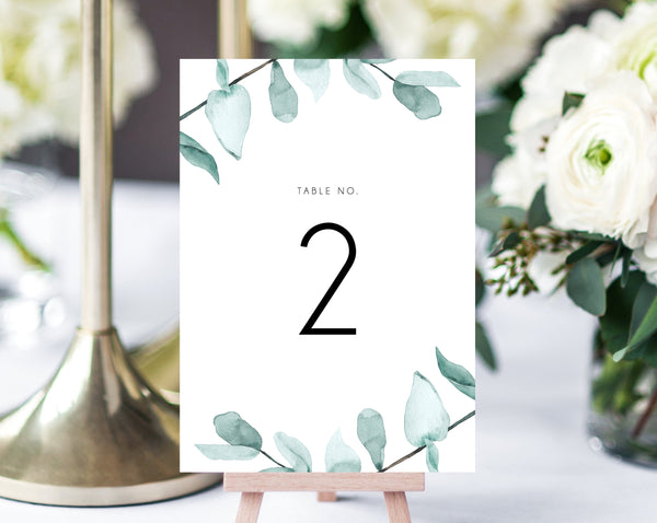 INSTANT DOWNLOAD Wedding Table Numbers, Printable Wedding Table Numbers, Greenery Table Numbers Card Template, Eucalyptus, Templett, W21