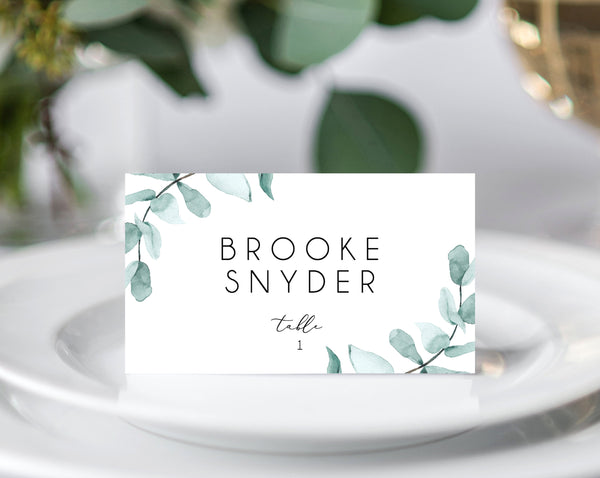 INSTANT DOWNLOAD Wedding Place Cards, Seating Card, Wedding Table Cards, Printable, Instant Download, Eucalyptus Greenery, Templett, W21