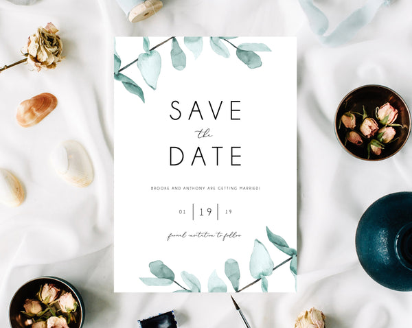 INSTANT DOWNLOAD Save the Date, Watercolor Greenery Save the Date Template, Save the Date, Eucalyptus Leaves Save the Date, Templett, W21