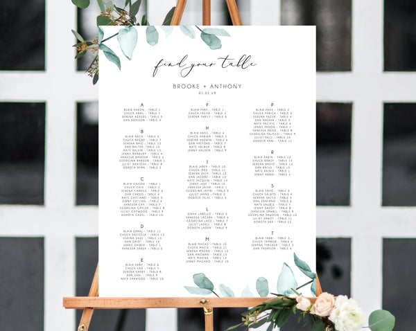 INSTANT DOWNLOAD Wedding Seating Chart Template, Alphabetical Seating Chart, Greenery Wedding Seating Board, Eucalyptus Table, Templett, W21