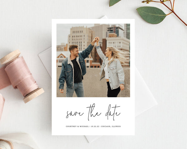 Photo Save the Date, Save the Date with Pictures Template, Printable Save the Date Card, Engagement Photo Save the Dates, Templett, W13
