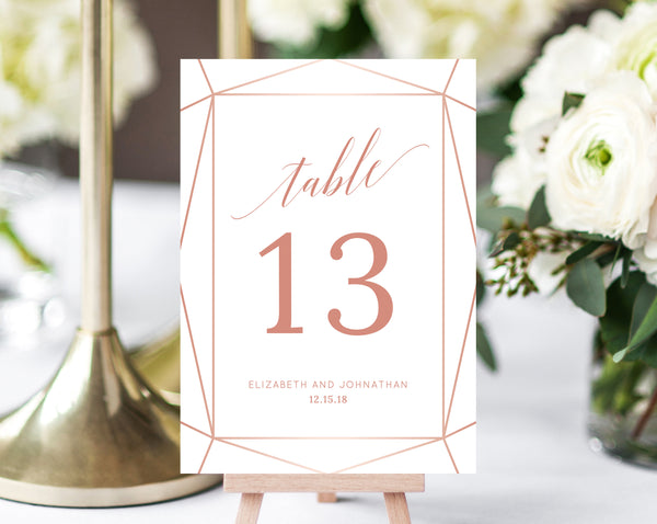 Wedding Table Numbers Template, Printable Wedding Table Numbers, Blush Table Number Card Template, DIY, Instant Download, Templett, W08