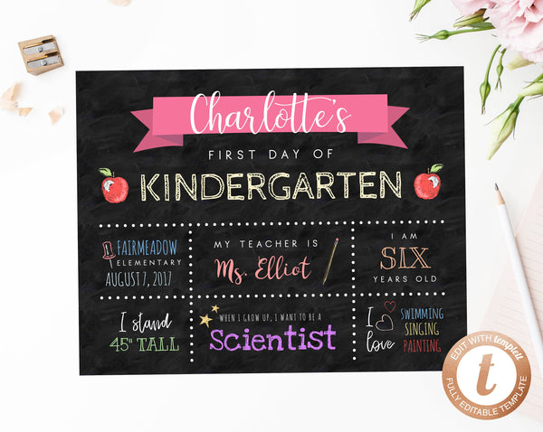 INSTANT DOWNLOAD Printable First Day of School Sign, First Day of Preschool Chalkboard, Kindergarten, Back to School Photo Prop, Templett