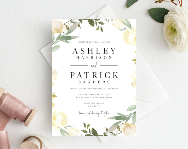 picture regarding Printable Wedding Card titled Wedding ceremony invitation template, Printable Marriage ceremony Invitation Suite, Watercolor Floral Wedding day Invitation Mounted, Greenery, White, Templett, W19B