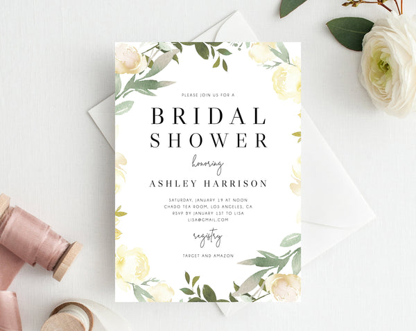 INSTANT DOWNLOAD Bridal Shower Invitation Template, Printable Bridal Shower, Floral Themed Invitation, Bridal Shower Invites, Templett, W19B