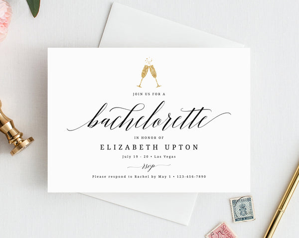 INSTANT DOWNLOAD Bachelorette Invitation Template, Simple Bachelorette Invite, Bachelorette Weekend Invitations, Instant Download, Templett