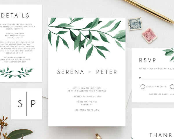 Wedding invitation template, Printable Wedding Invitation Suite, Watercolor Floral Wedding Invitation Set, Greenery, Leaves, Templett, W20B