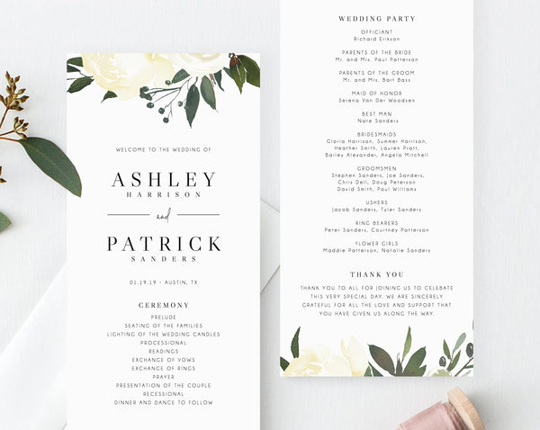Floral Wedding Program Template, Printable Wedding Program, Greenery Wedding Program, Editable Ceremony Programs, Instant, Templett, W19