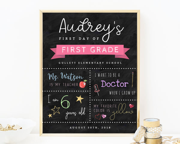 INSTANT DOWNLOAD Printable First Day of School Sign, First Day of School Chalkboard, Kindergarten, Back to School Photo Prop, Templett