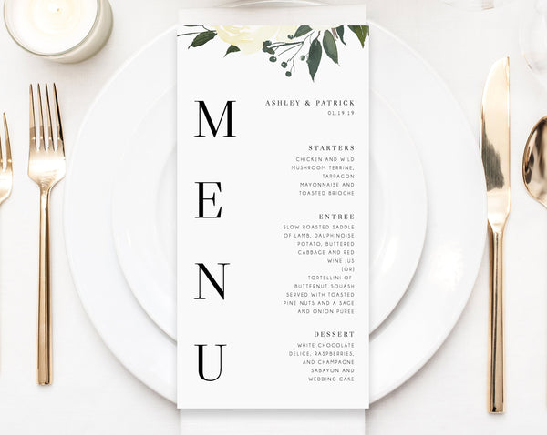 Wedding Menu Template, Printable Menu, Editable Wedding Menu, Greenery Wedding Menu, DIY Wedding Menu, Templett, Instant Dowload, W19