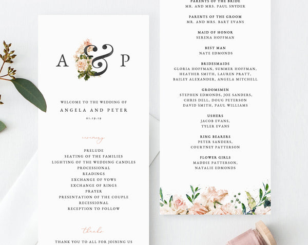 Floral Wedding Program Template, Printable Wedding Program, Blush Wedding Program, Editable Ceremony Programs, Instant, Templett, W22