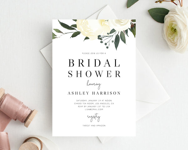 INSTANT DOWNLOAD Bridal Shower Invitation Template, Printable Bridal Shower, Floral Themed Invitation, Bridal Shower Invites, Templett, W19