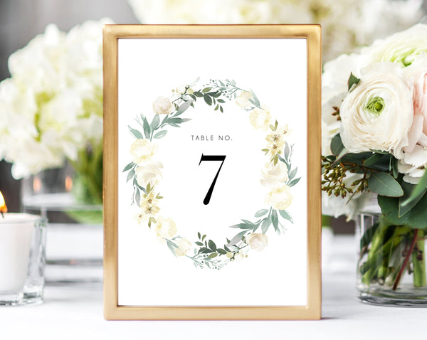 INSTANT DOWNLOAD Wedding Table Numbers, Printable Wedding Table Numbers, Floral Table Numbers Card Template, Greenery, Templett, W19