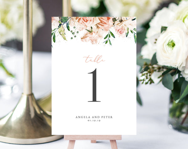 INSTANT DOWNLOAD Wedding Table Numbers, Printable Wedding Table Numbers, Floral Table Numbers Card Template, Blush Wedding, Templett, W22