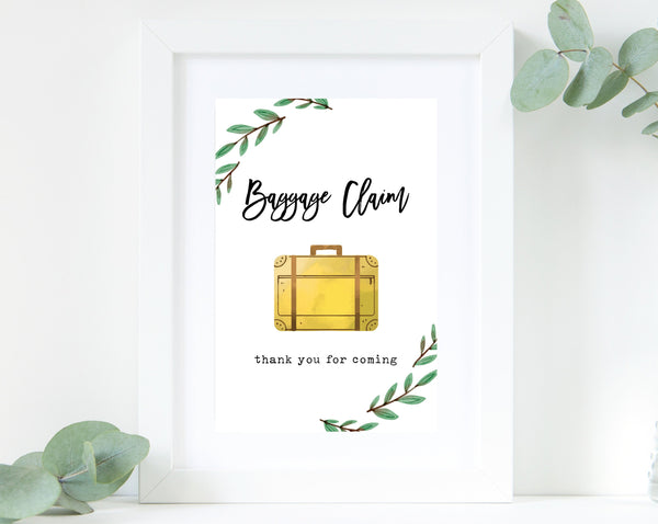 Baggage Claim Sign, Adventure Themed Sign Printable, Instant Download, Adventure Awaits Baby Shower Sign, Favor Sign, Thank You, Templett