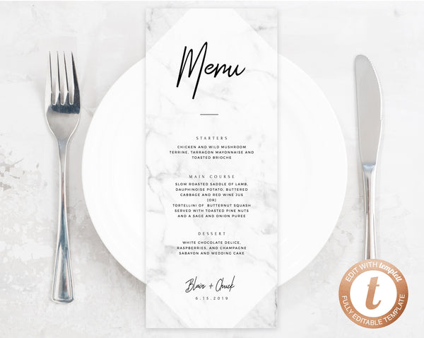 INSTANT DOWNLOAD Wedding Menu Template, Printable Wedding Menu, Editable Wedding Menu, Chic Marble Wedding Menu, DIY Menu, Templett, W07