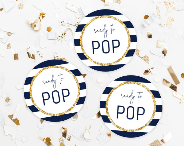 Ready To Pop Labels Template, Ready To Pop Tags, Baby Shower Labels, Ready To Pop Printable, Navy and Gold, Navy Stripes, Templett, B03