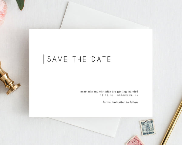 INSTANT DOWNLOAD Save the Date, Simple Save the Date Template, Save the Date Printable, Minimalistic Save Our Date Template, Templett, W11