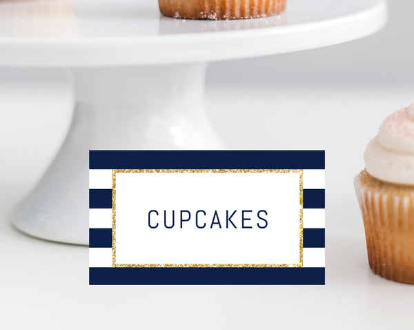 Navy Stripes Place Card Template Food Sign Baby Shower Favor Sign