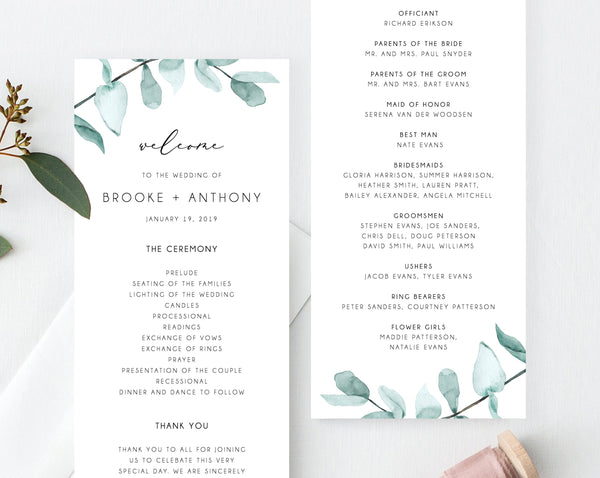 Greenery Wedding Program Template, Printable Wedding Program, Eucalyptus Wedding Program, Editable Ceremony Programs, Instant, Templett, W21