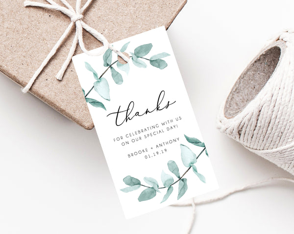 INSTANT DOWNLOAD Favor Tags, Thank You Tag, Wedding Favor Tag, Greenery Wedding Gift Tag, Eucalyptus Favor Tag Printable, Templett, W21
