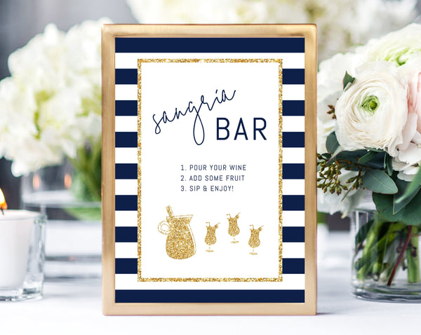 Bar Menu Sign Template, Navy and Gold Bar Sign, Baby Shower Bar Printable, Drinks Sign, Navy Stripes Sangria Bar Sign, Templett, B03