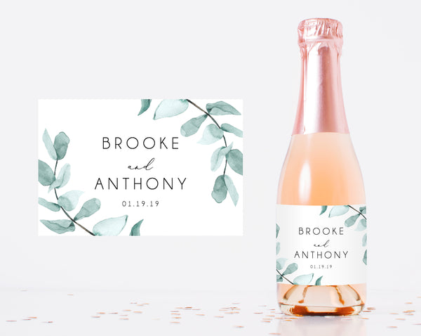 Mini Champagne Bottle Label Template, Eucalyptus Leaves Wedding Mini Champagne Sticker, W21 | Instant Download Editable Template, Templett