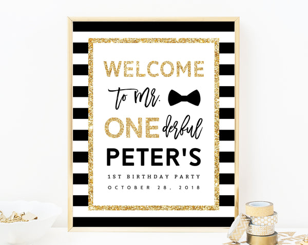 Mr. Onederful Welcome Sign Template, Onederful Sign Printable, One-derful Birthday Party Welcome Sign, 1st Birthday Sign, Templett, B02