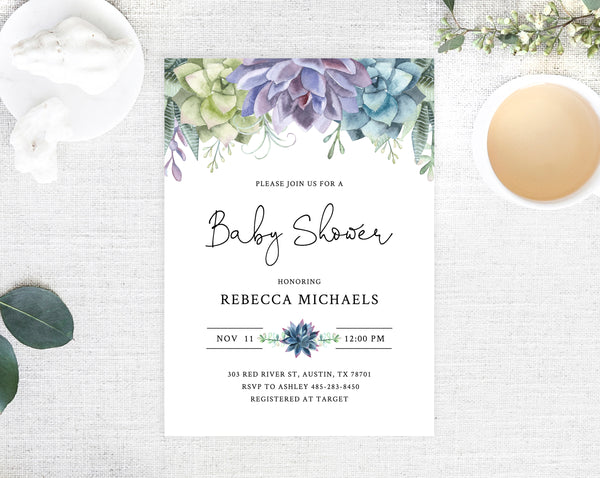 photo regarding Printable Baby Shower Invites named Editable Succulent Boy or girl Shower Invitation Template, Printable Youngster Shower Invites, Watercolor Inexperienced and Pink Youngster Shower, Templett