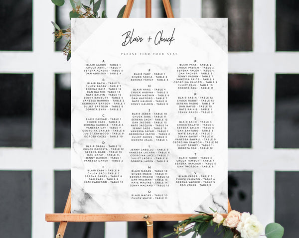 INSTANT DOWNLOAD Alphabetical Wedding Seating Chart, Marble Seating Chart Printable, Wedding Seating Board, Marble Table Sign, Templett, W07