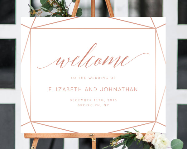Wedding Welcome Sign Template, Welcome to the Wedding Printable, Welcome Board, Blush Wedding Sign, Instant Download, Templett, W08