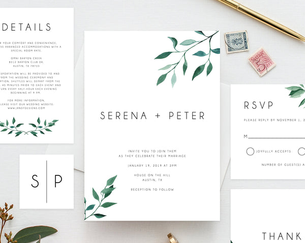 Wedding invitation template, Printable Wedding Invitation Suite, Watercolor Floral Wedding Invitation Set, Greenery, Leaves, Templett, W20