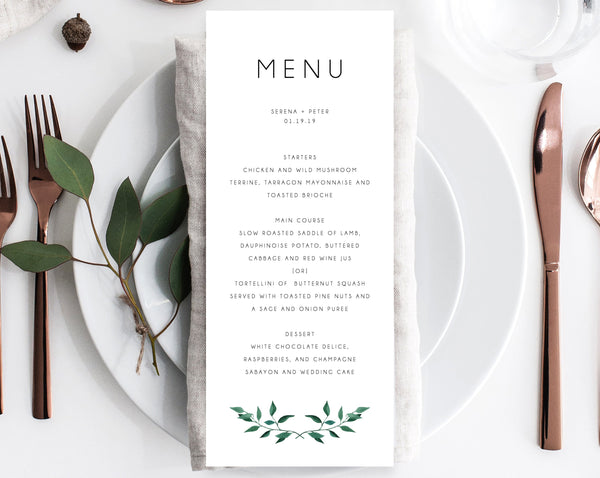 Wedding Menu Template, Printable Menu, Editable Wedding Menu, Greenery Wedding Menu, DIY Wedding Menu, Templett, Instant Dowload, W20