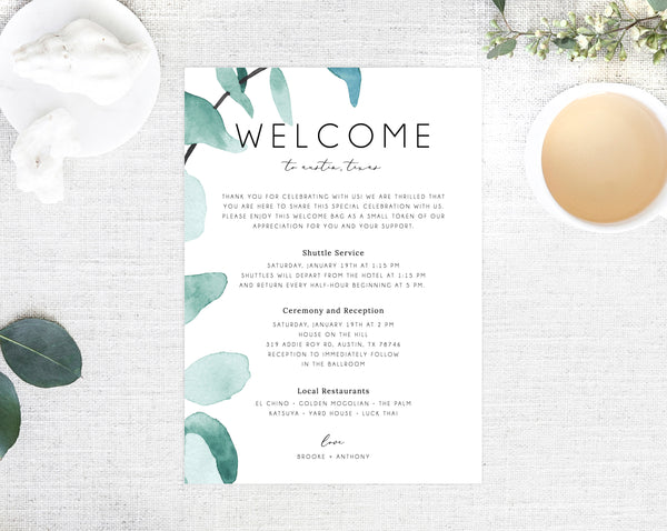 Welcome Letter Template, Wedding Itinerary Card, Greenery Welcome Bag Letter, Wedding Agenda, Printable Hotel Welcome Note, Templett, W21