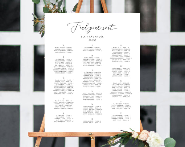 Alphabetical Wedding Seating Chart Template, Seating Chart Printable, Table Chart, Seating Board, Wedding Sign, Templett, W15