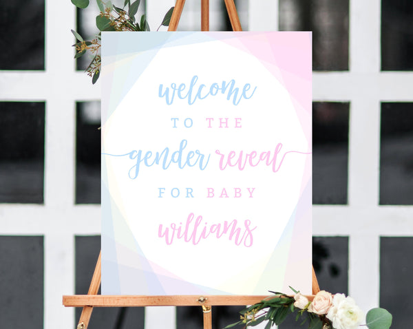 Welcome Sign Template, Gender Reveal Welcome Sign, Printable Gender Reveal Sign, Blue and Pink Welcome Sign, Templett