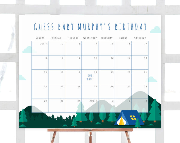 Camping Due Date Calendar Template, Adventure Awaits Baby Shower Calendar, Baby Due Date Game, Guess The Due Date, Predictions, B06
