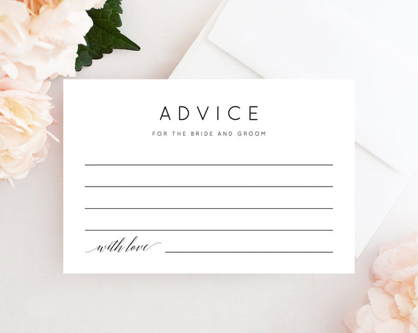 Printable Advice Card, Advice For The Newlyweds, Wishes for the Newlyweds, Advice and Well Wishes, Wedding Advice Cards, Templett, W02