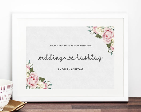 INSTANT DOWNLOAD Wedding Sign Printable, Hashtag Sign, Wedding Hashtag, DIY Printable Wedding Sign, Share the Love Sign, Templett, W06