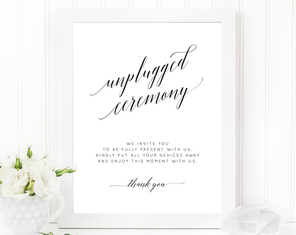 Unplugged Ceremony Sign Printable, Wedding Unplugged Ceremony, DIY Printable Wedding Sign, Switch Cellphone, Devices Away, Templett, W02