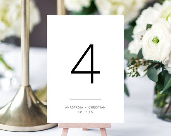 Wedding Table Numbers Template, Printable Wedding Table Numbers, Simple Table Number Card Template, DIY, Templett, W11