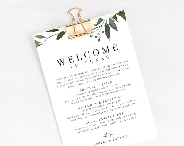 Welcome Letter Template, Wedding Itinerary Card, Welcome