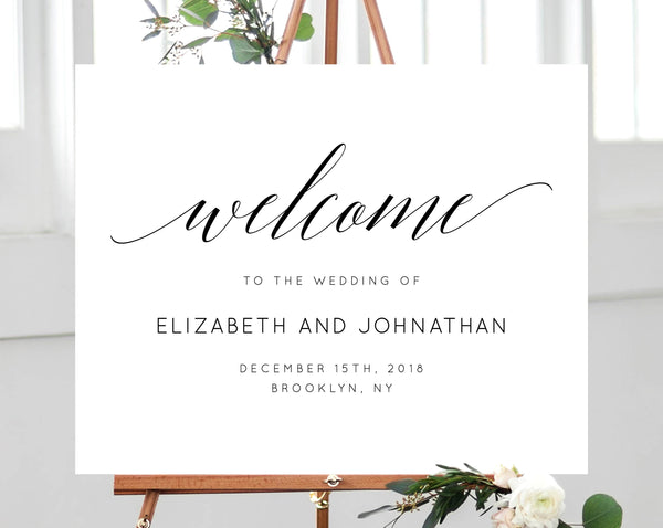 Wedding Welcome Sign Template, Welcome to the Wedding Printable, Welcome Board, Simple Wedding Sign, Instant Download, Templett, W02