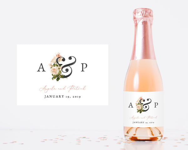 Mini Champagne Bottle Label Template, Blush Floral Wedding Favor Mini Champagne Sticker | Instant Download Editable Template, Templett, W22