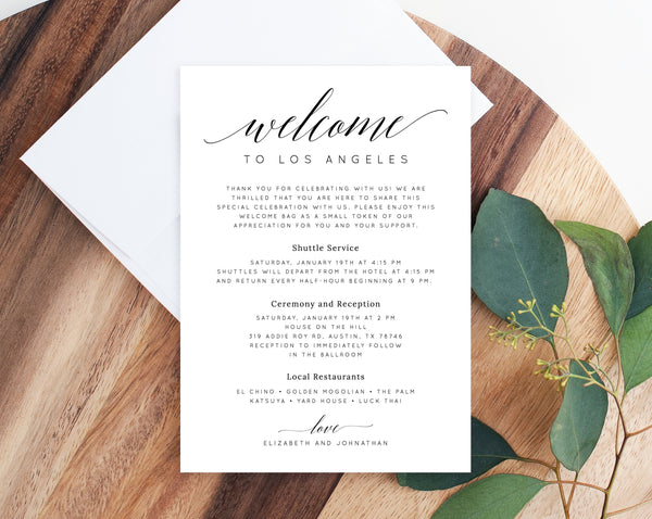 Welcome Letter Template, Wedding Itinerary Card, Welcome Bag Letter, Wedding Agenda, Printable Hotel Welcome Note, Templett, W02