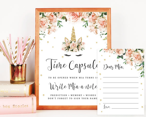 Unicorn Time Capsule Sign Template, Printable Unicorn Time Capsule, Editable First Birthday Time Capsule With Matching Cards, Templett, B04
