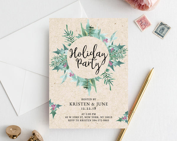 Christmas Party Invitation Template, Holiday Party Invitation, Printable Christmas Invite, Editable Party Invitations, Holidays, Templett