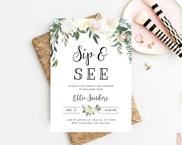 Editable Sip & See Invitation Template, Printable Floral Sip and See Invitation, Welcome Baby Invitation, Greenery, Templett