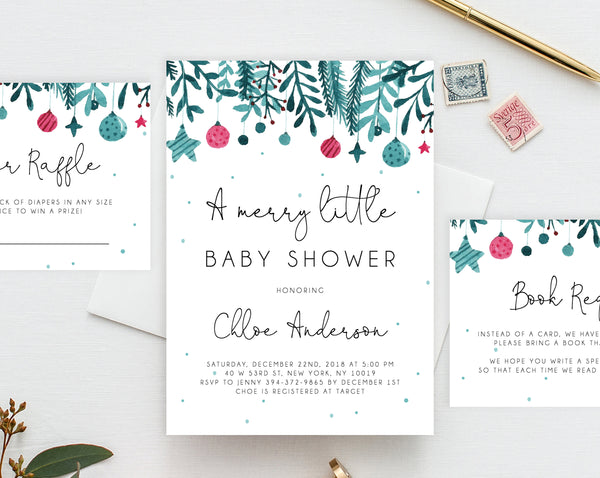 A Merry Little Baby Shower Invitation Template, Printable Christmas Baby Shower Invitation, Winter Holiday Baby Shower Invitation, Templett